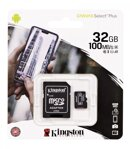 Kingston  Micro SDHC 32GB Canvas Select Plus A1 100MB/s  CL10 Card + SD Adapter