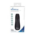 MediaRange 5-button wireless presenter with red laser pointer, black