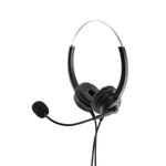 MediaRange Corded stereo headset with  microphone and control panel, black