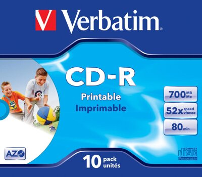 Verbatim CD-R 52x 700MB AZO Print Jewel Case 10