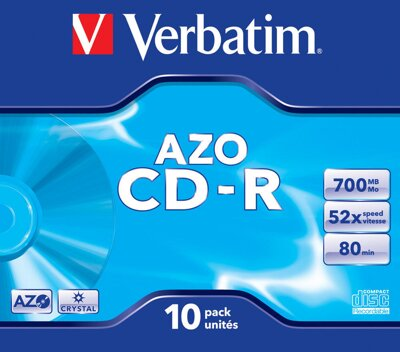 Verbatim CD-R 52X 700MB Crystal AZO Jewel Case 10
