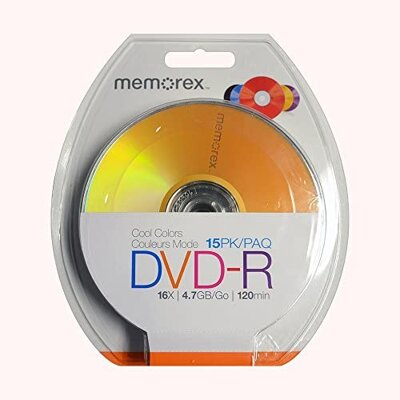MEMOREX DVD-R 16X 4,7GB COOL COLORS 15PK BLISTER
