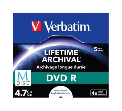 Verbatim M-DISC DVD R 4x 4,7GB Print Jewel Case 5PK