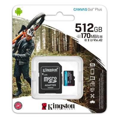 Kingston 512GB microSD Class Canvas Go! Plus A2 U3V30 170MB/s + adapter