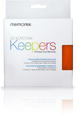 MEMOREX CD/DVD PLASTIC KEEPERS 5 COLORS x10pcs 50 PACK