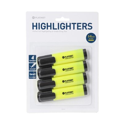 PLATINET HIGHLIGHTERS YELLOW 4 PCS