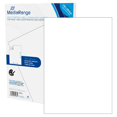 Mediarange Multi-purpose labels 210x297mm White